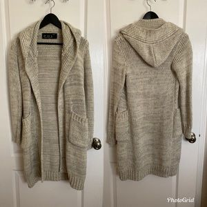 Long Knitted Hooded Cardigan